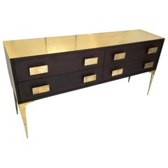 Enfilade with Four Drawers in Wood and Brass