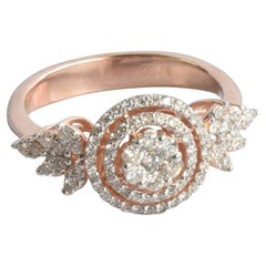 Engagement Diamond Ring in 18 Karat Rose Gold Natural Round Diamond Ring