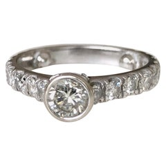 Engagement Diamond Ring with Diamond Accents 14 Karat White Gold