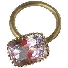 Engagement Eternity 18 Karat Gold Kunzite Cage Ring