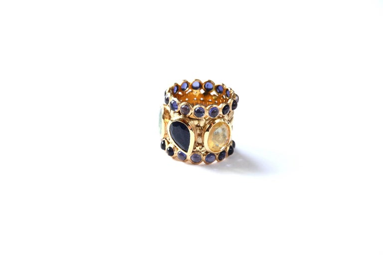 Engagement Eternity Blue, Yellow and Green Sapphire Tanzanite Gold Chennai Ring For Sale 8