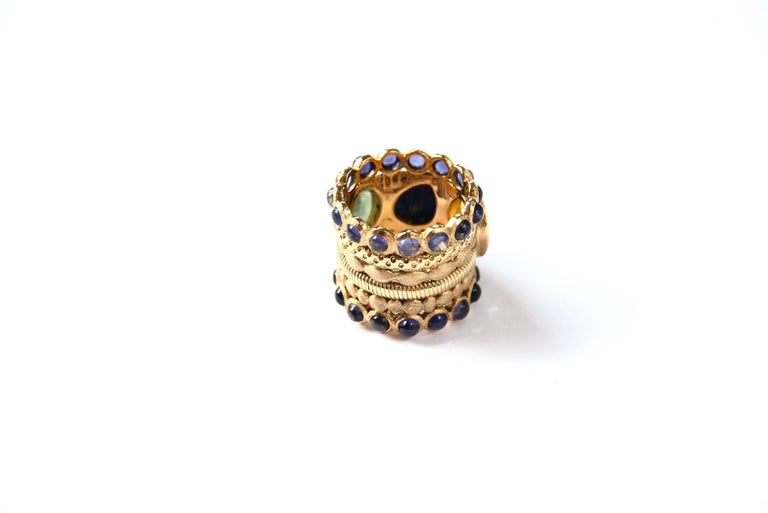 Engagement Eternity Blue, Yellow and Green Sapphire Tanzanite Gold Chennai Ring For Sale 2