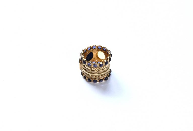 Engagement Eternity Blue, Yellow and Green Sapphire Tanzanite Gold Chennai Ring For Sale 4