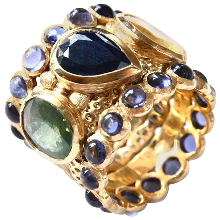 Engagement Eternity Blue, Yellow and Green Sapphire Tanzanite Gold Chennai Ring For Sale