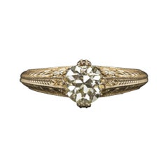Engagement Ring GIA Certified 0.92Cts Old European Cut Diamond Vintage Gold Set