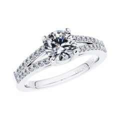 Engagement Ring GIA Certified Round Diamond 1.30 Carat 18 Karat White Gold