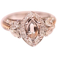 Engagement Ring Semi Mount with Marquise and Round Diamonds in 14 Karat White
