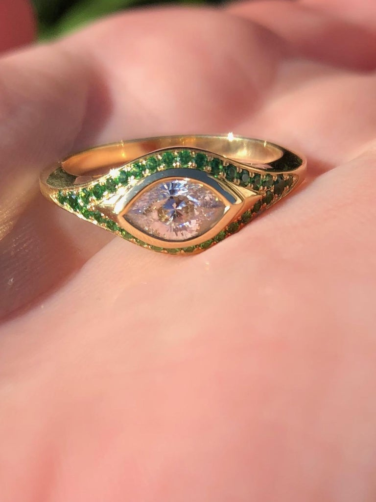 Pear Cut Engagement Ring with Cleaopatra's Eye Cut Diamond, and Tsavorite Pavé For Sale