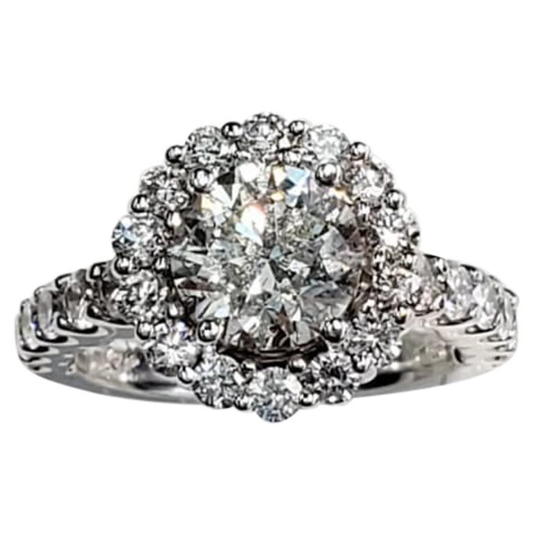 Engagement White Diamond Halo Ring
