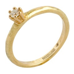 Engagement White Diamond Solitaire Ring in 18 Carat Gold from Iosselliani