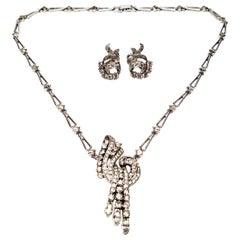 Engel Bros Sterling Silver Rhinestone Pendant and Earrings Set