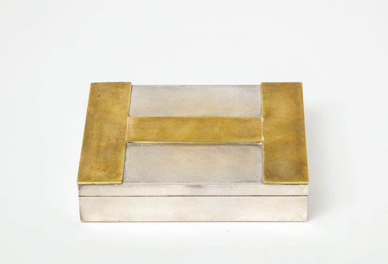Rare vintage engine turned silver and gold-plated Hermès iconic H box, France, circa 1960s.