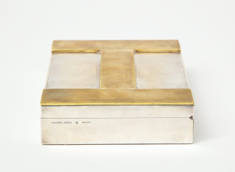 Engine Turned Silver and Gold-Plated Hermès H-Box In Good Condition For Sale In New York City, NY