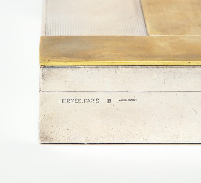 20th Century Engine Turned Silver and Gold-Plated Hermès H-Box For Sale