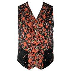 ENGINEERED GARMENTS Size L Black & Red Floral Cotton Reversible Vest