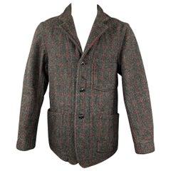 ENGINEERED GARMENTS Size L Charcoal & Red Window Pane Wool / Nylon Jacket