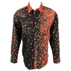ENGINEERED GARMENTS Size M Black & Red Floral Cotton Long Sleeve Shirt
