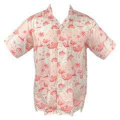 ENGINEERED GARMENTS Size M Pink & White Flamingo Print Cotton Camp Shirt