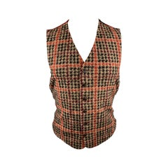 ENGINEERED GARMENTS Size M Red Houndstooth Wool Blend Buttoned Vest