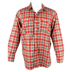 ENGINEERED GARMENTS Size S Red & Grey Plaid Cotton Button Down Long Sleeve Shirt