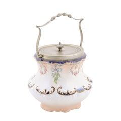 England Crescent Ware 1890s Porcelain Pot with Floral Motifs and EPNS Lid
