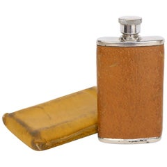 English 1 1/2 Ounce Leather Flask and Case