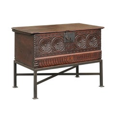 English 1780s Hand-Carved Walnut Coffer with Medallions on Custom Iron Stand