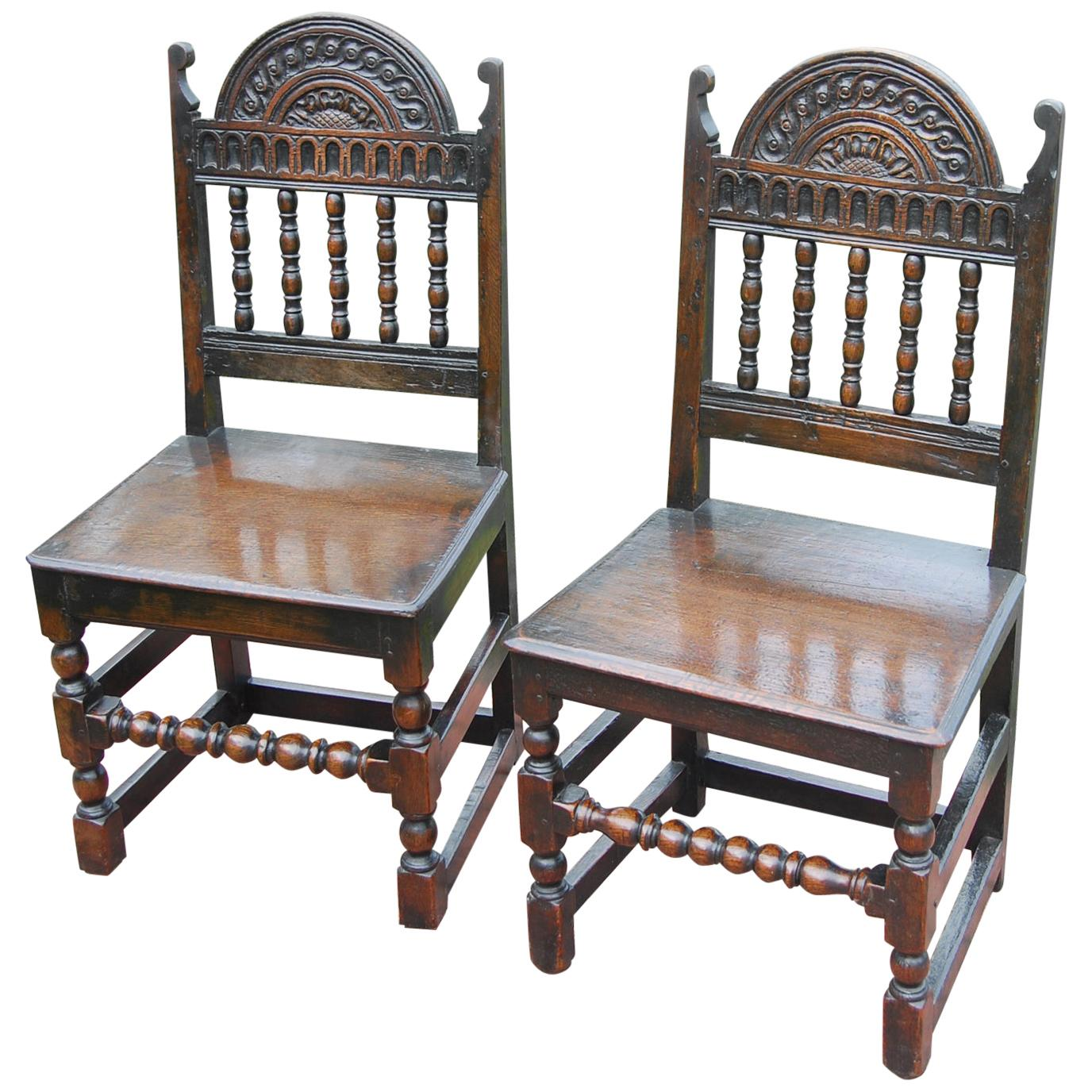 English 17th Century Charles II Period Pair of Oak Carved Chairs, Back Stools