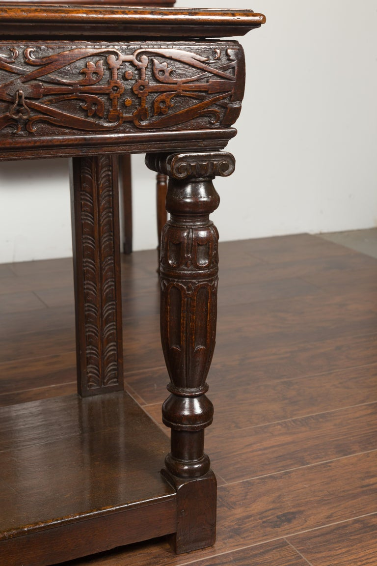English 1800s George III Oak Console Table with Carved Drawer and Ionic Capitals For Sale 6