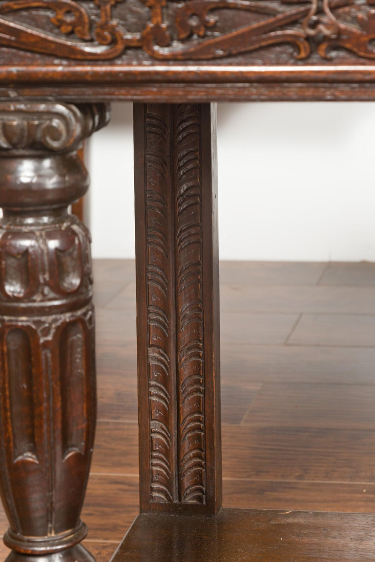 English 1800s George III Oak Console Table with Carved Drawer and Ionic Capitals For Sale 8