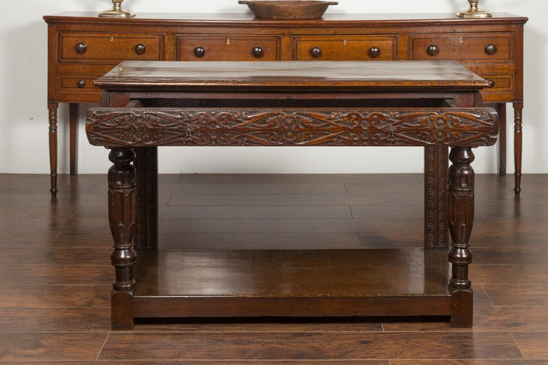 English 1800s George III Oak Console Table with Carved Drawer and Ionic Capitals For Sale 9
