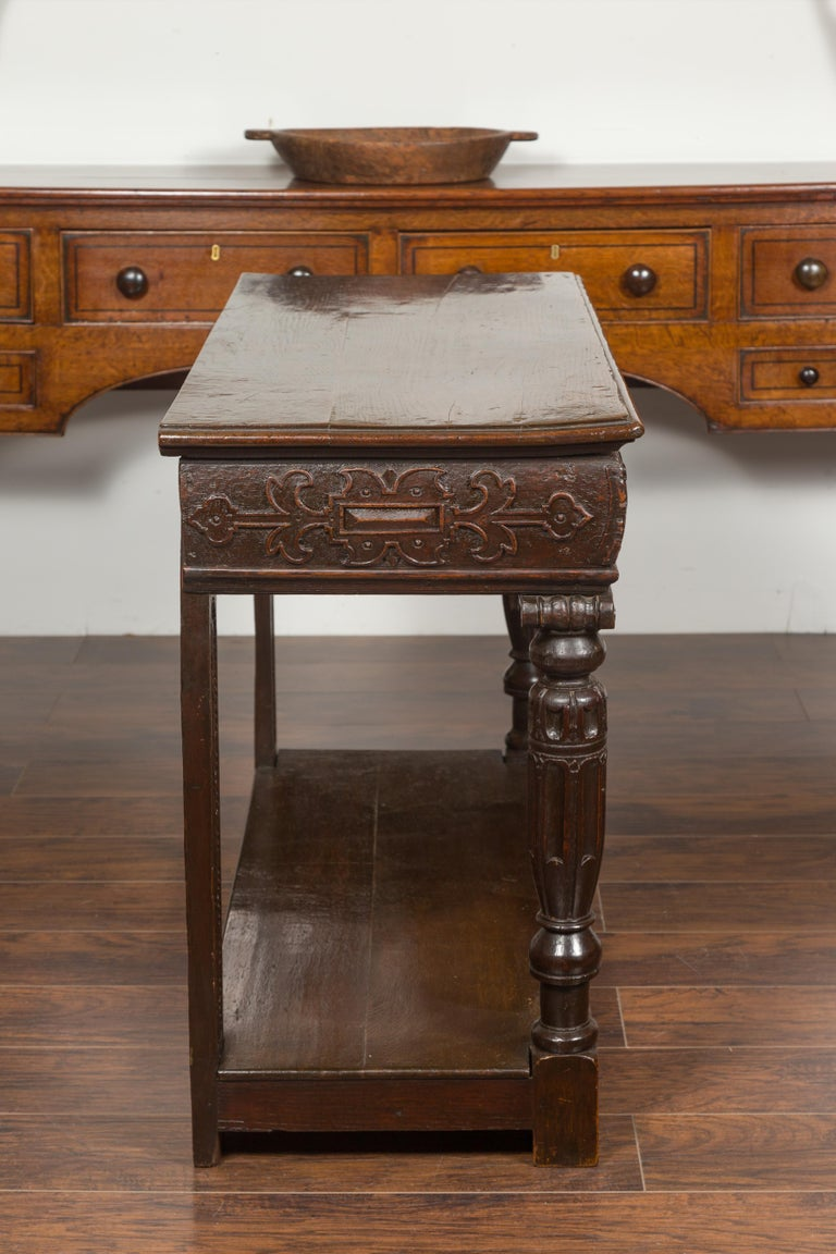 English 1800s George III Oak Console Table with Carved Drawer and Ionic Capitals For Sale 10