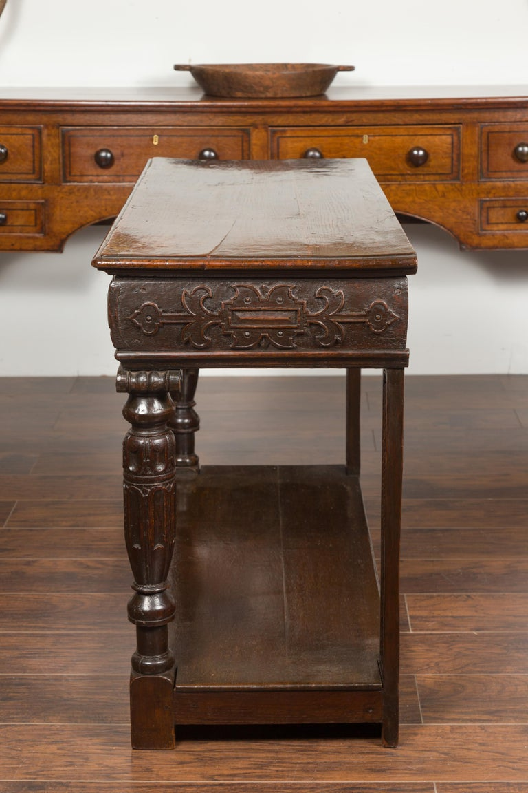 English 1800s George III Oak Console Table with Carved Drawer and Ionic Capitals For Sale 15