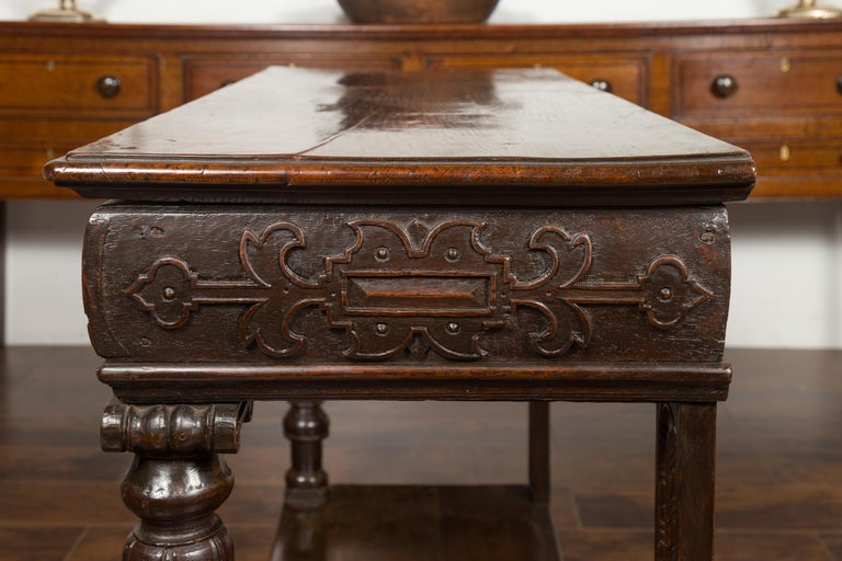 English 1800s George III Oak Console Table with Carved Drawer and Ionic Capitals For Sale 16