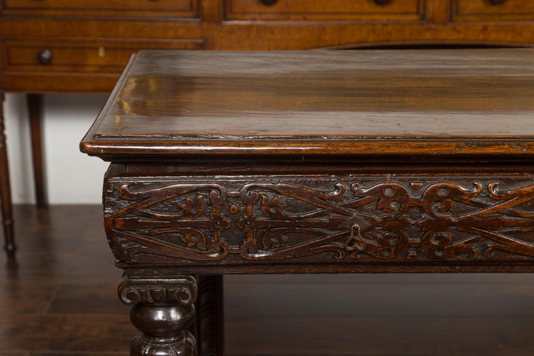 English 1800s George III Oak Console Table with Carved Drawer and Ionic Capitals In Good Condition For Sale In Atlanta, GA
