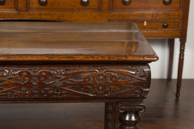 19th Century English 1800s George III Oak Console Table with Carved Drawer and Ionic Capitals For Sale