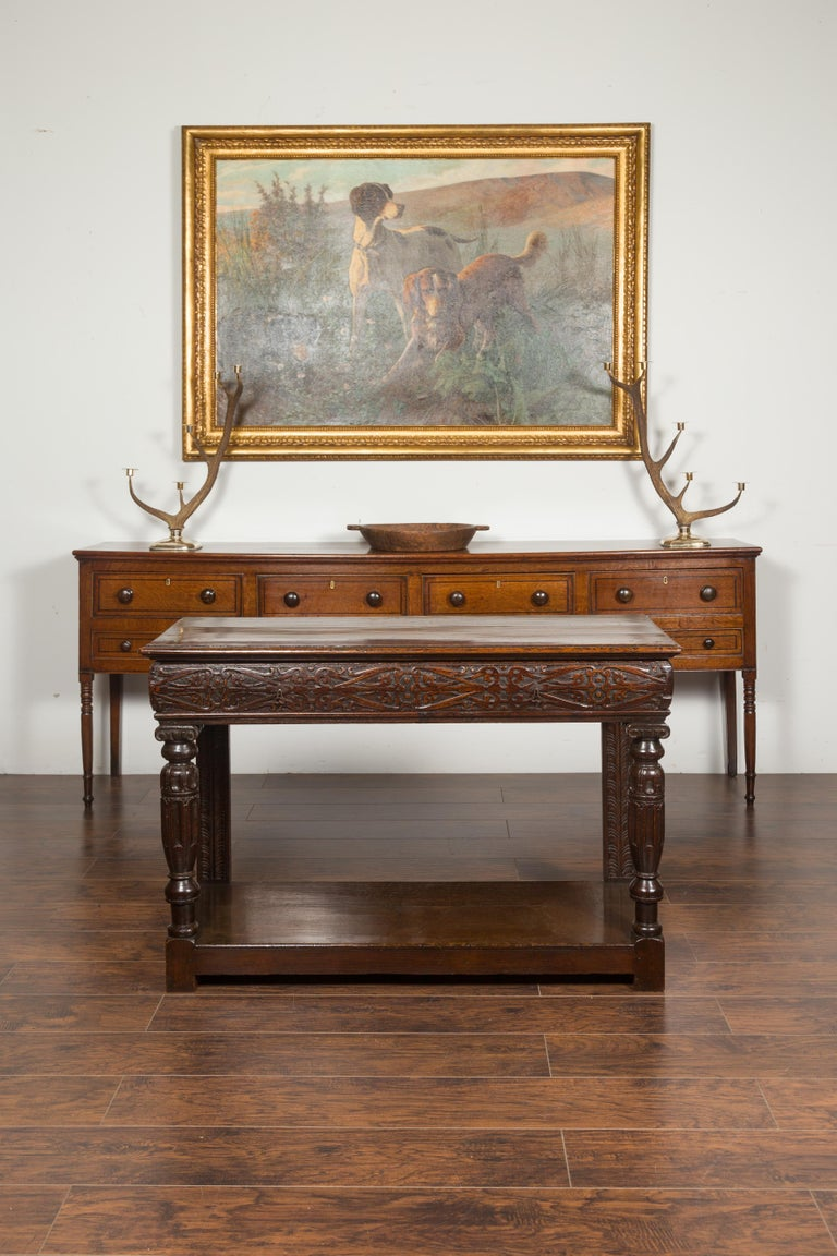 English 1800s George III Oak Console Table with Carved Drawer and Ionic Capitals For Sale 2