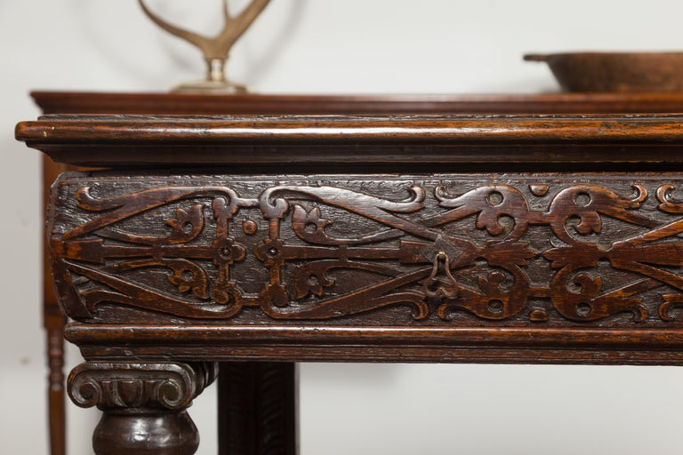 English 1800s George III Oak Console Table with Carved Drawer and Ionic Capitals For Sale 3