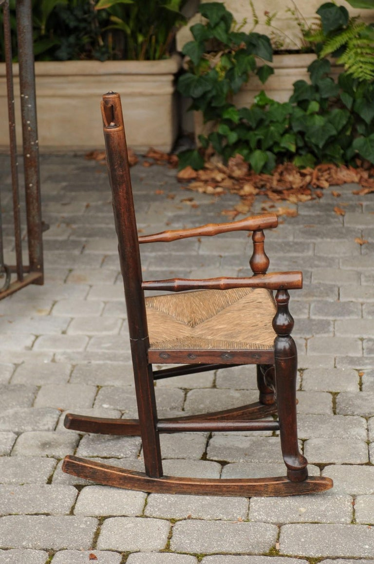 Astounding English 1800S Georgian Period Plum Wood Childs Rocking Chair With Rush Seat Gmtry Best Dining Table And Chair Ideas Images Gmtryco