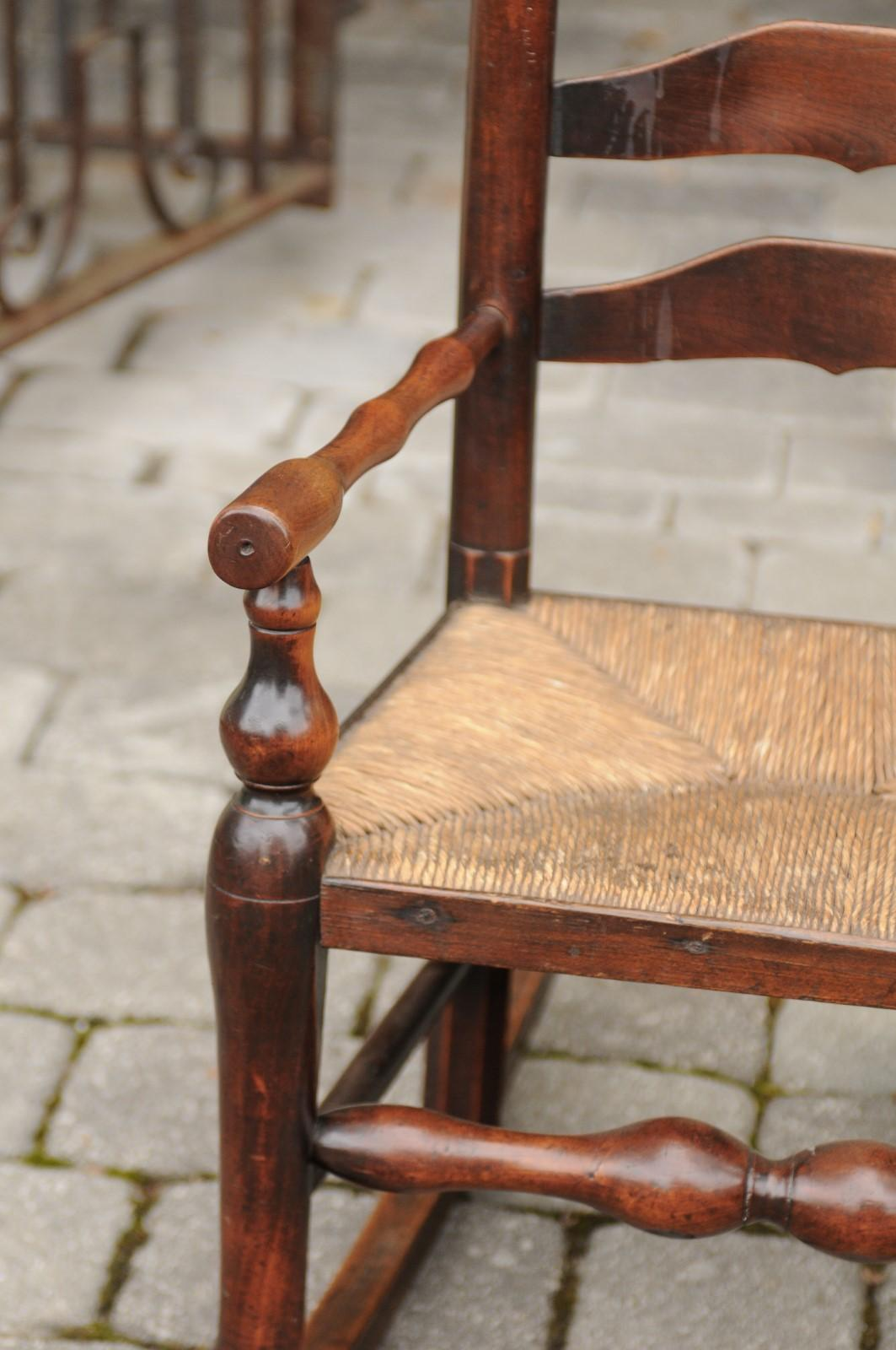 English 1800s Georgian Period Plum Wood Childu0027s Rocking Chair With Rush  Seat For Sale 5