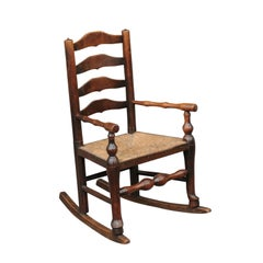 English 1800s Georgian Period Plum Wood Child's Rocking Chair with Rush Seat