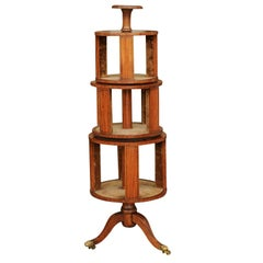 English 1820s Georgian Book Revolving Trolley on Casters with Suede Lining