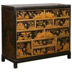 English 1820s Georgian Period Black and Gold Chinoiserie Chest with Stone Top