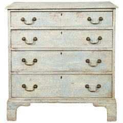 English 1820s Georgian Period Four-Drawer Chest with Blue Grey Distressed Paint