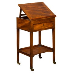 English 1820s Mahogany Architect's Table with Tilt Top, Single Drawer and Shelf