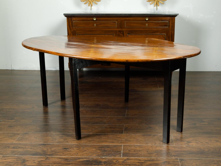 English 1820s Mahogany Drop Leaf Dining Table with Oval Top and Ebonized Legs For Sale 1