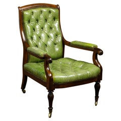 English 1830s Regency Green Tufted Leather Club Chair with Scrolling Arms