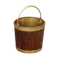 English 1830s Regency Mahogany Bucket with Brass Liner, Handle and Braces
