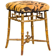 English 1840s Chinese Chippendale Style Gilt Faux Bamboo Stool with Tiger Fabric