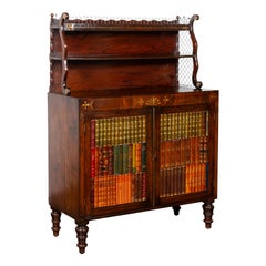 English 1840s Mahogany Cabinet with Faux-Book Doors and Open Shelves